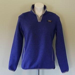 LL Bean Bean Blue Sweater Fleece Snap Pullover XS